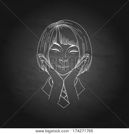 Portret of cute smiling asian girl posing with hands near her face
