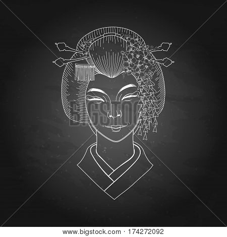 Portret of cute smiling asian girl with traditional japanese hairstyle