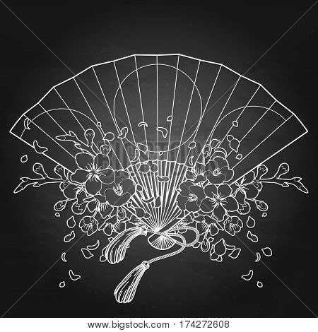 Hand fan with traditional japanese design and sakura decorations. Vector illustration isolated on the chalkboard