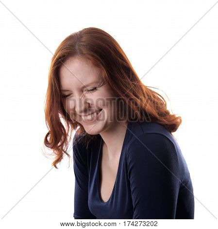 portrait of redhead woman laughing isolated on white
