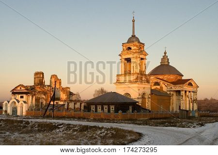 Orthodox Christian church in the rays of the setting sun. Anastasovsky parish.