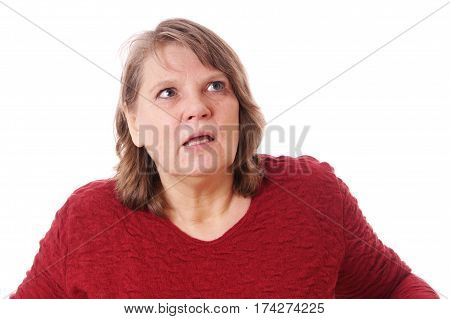 shocked woman looking up, isolated on white