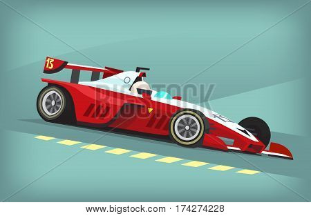 Red and white fast motor racing bolide