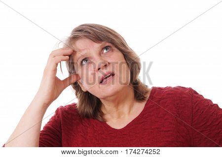 senior woman scratching her head thinking, isolated on white