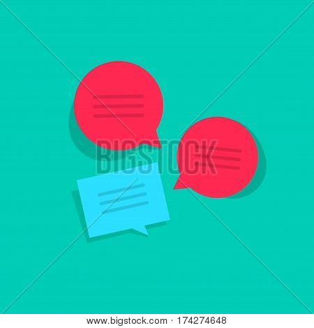 Chat online vector illustration, flat style bubble speeches with abstract text, chatting group discussion messages, internet talk
