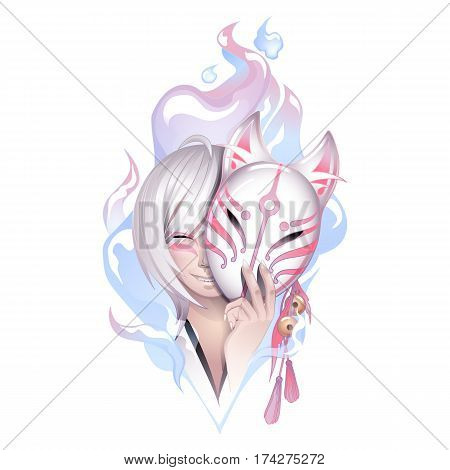 Smiling asian girl with gray hairs hiding her face under the japanese deamon fox mask with fire flame on background. Can be used as tattoo art, print or t-shirt design