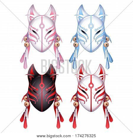 Graphic deamon fox masks set isolated on white background. Traditional of attribute japanese folklore.