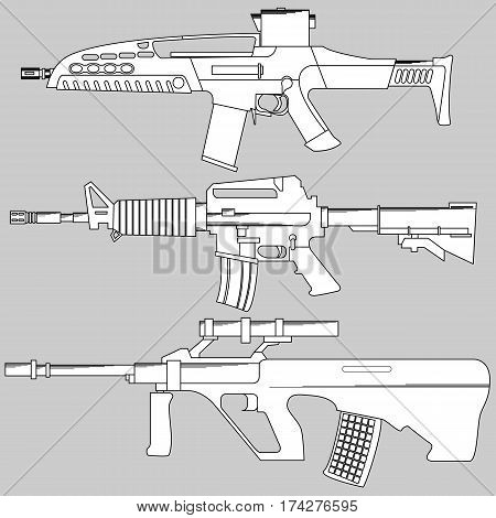 Set automatic firearms, pistol, rifle, machine gun, in a linear style  for use as logos on cards, in printing, posters, invitations, web design and other purposes.