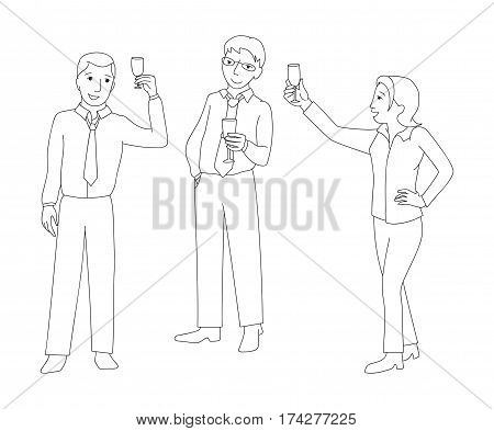 Men and woman in formal clothes, work team clink champagne glass, business success concept, line vector