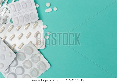 Pills And Medicine Blister Packs With Copy Space