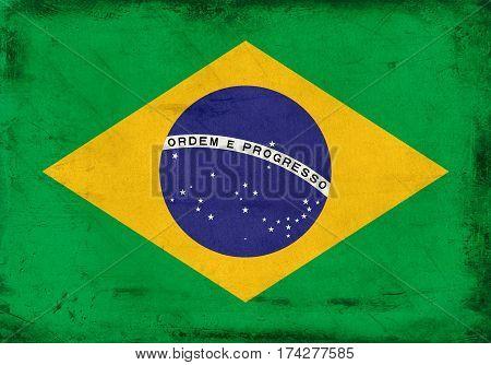 Vintage national flag of Brazil background textured