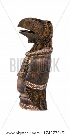 wooden Aboriginal idol on Kamchatka on white background