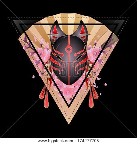 Graphic deamon fox mask with sacura flowers and golden hand fan on background. Sacred triangular design. Traditional attribute of japanese folklore