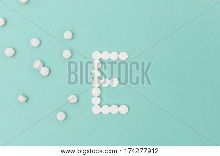 Vitamin E Pills Forming The Letter 'e'