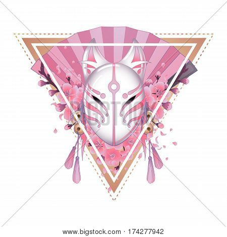 Graphic deamon fox mask with sacura flowers and pink hand fan on background. Sacred triangular design. Traditional attribute of japanese folklore