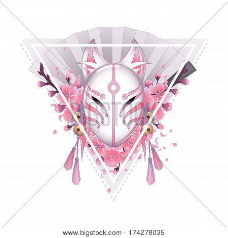 Graphic mask of japanese deamon kitsune drawn in red colors isolated on white background. Traditional attribute of asian folklore. Translation of the hieroglyph - fox