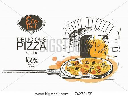 pizza on a shovel baked in the wood fire oven in the kitchen Hot fresh pizza in a rustic Italian style with olives mushrooms and cheese. Hand-drawn vector illustration line sketch
