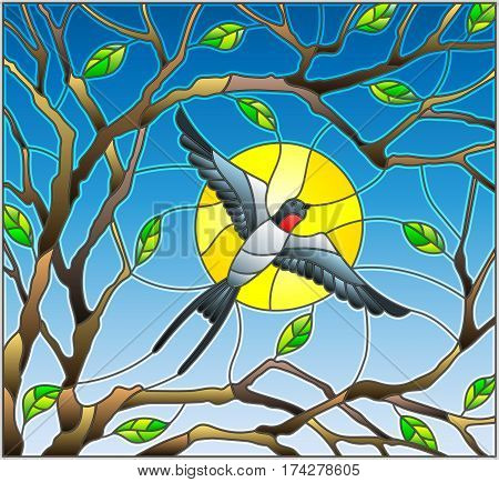 Illustration in stained glass style on the theme of spring the swallow flying on the background of Sunny sky through the lumen of the branches of a tree