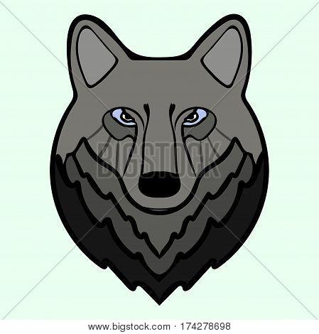 Wolf head black predator symbol freedom. Vector illustration Wolf.