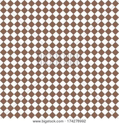 Brown Rhombus. White Squares. Chess Background. Seamless Pattern. Vector Illustration