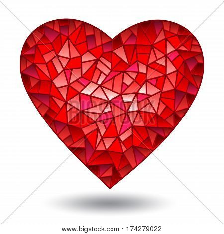 Illustration with glass red heart isolated on white background