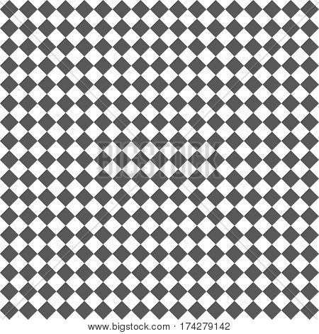 Gray Rhombus. White Squares. Chess Background. Seamless Pattern. Vector Illustration