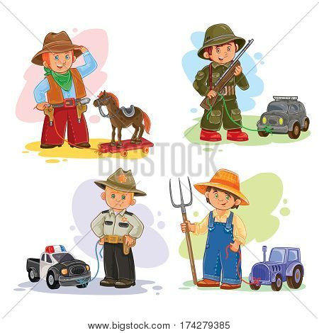 Set of icons of small children cowboy, sheriff, farmer, soldier and their vehicle