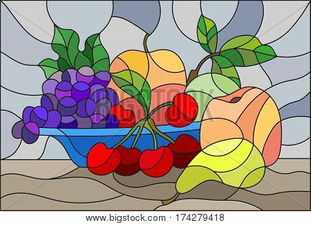 Illustration in stained glass style with still life fruits and berries in blue bowl