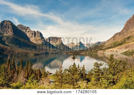 St Mary Lake with Wild Goose Island in Glacier National park, Montana