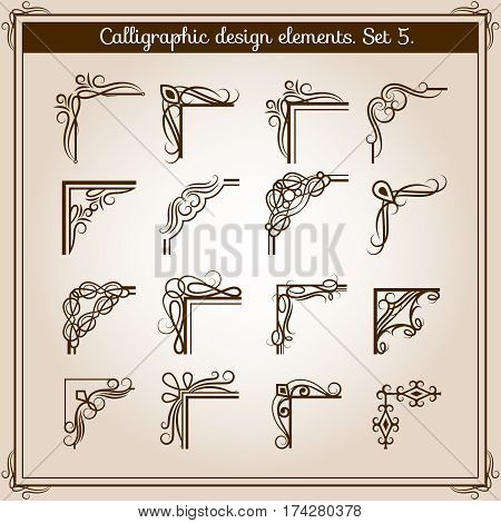 Vector vintage floral page frame ornament corners. Retro flourish angled accent design elements. Calligraphy filigree classic corners for page of book illustration
