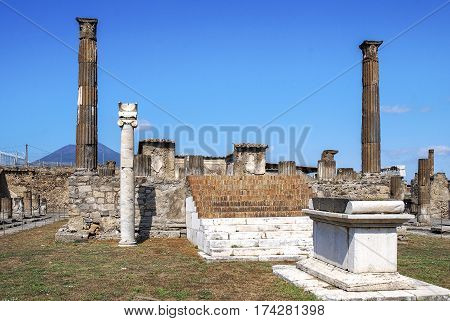 Temple of Apollo in Pompeii, Pompeii was an ancient Roman town-city near modern Naples, destroyed by the eruption of Vesuvius