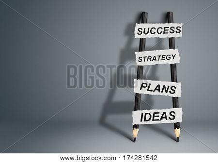 success idea , creative concept pencil Ladder