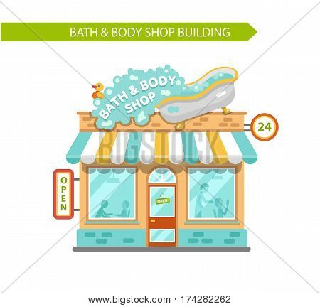 Vector flat style illustration of bath & body shop building. Signboard with big wash tub with spilling foam and duck toy. Shop vitrine with people. Isolated on white background.