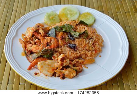 spicy fried rice with seafood Tom yam on dish