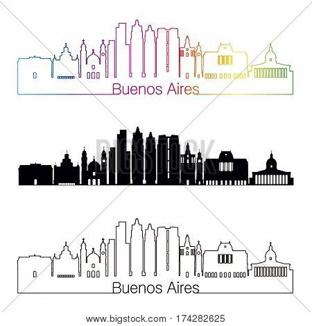 Buenos Aires V2 skyline linear style with rainbow in editable vector file