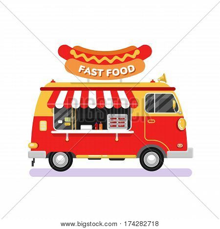 Flat design vector illustration of fast food car. Mobile retro vintage shop truck icon with signboard with big hot dog. Side view, isolated on white background. Fast or junk food concept.