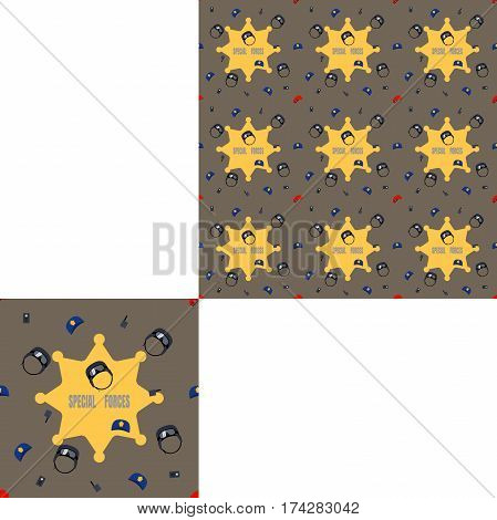 Seamless dark brown and yellow patterns of police hats and radio with pattern unit.