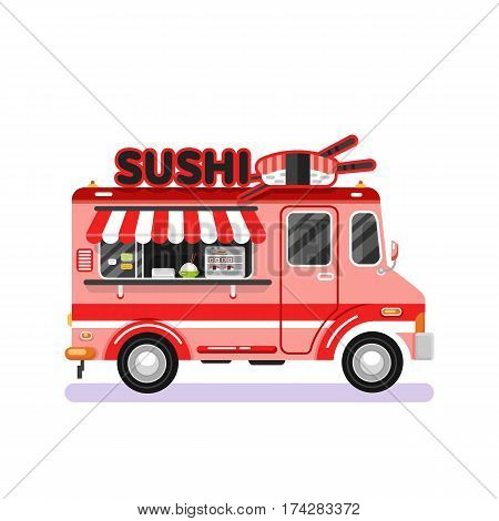 Flat design vector illustration of japanese traditional fast food van. Mobile retro vintage shop truck icon with signboard with big sushi roll and chopsticks. Side view, isolated on white background.