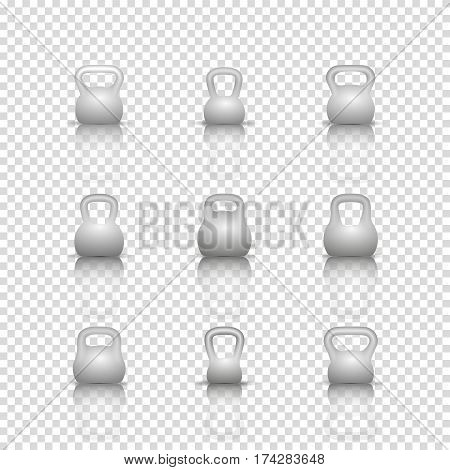Set of realistic kettlebells different shapes with mirror reflection isolated on white background. Design elements sports equipment for the gym vector illustration.