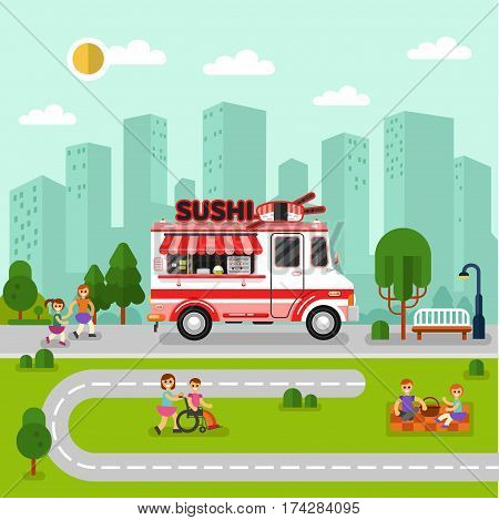 Flat design vector illustration of City landscape with chinese or japanese traditional fast food van. Mobile retro vintage shop truck icon with signboard with big sushi roll and chopsticks.