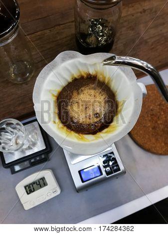 Drip Coffee Set Preparing By Barista