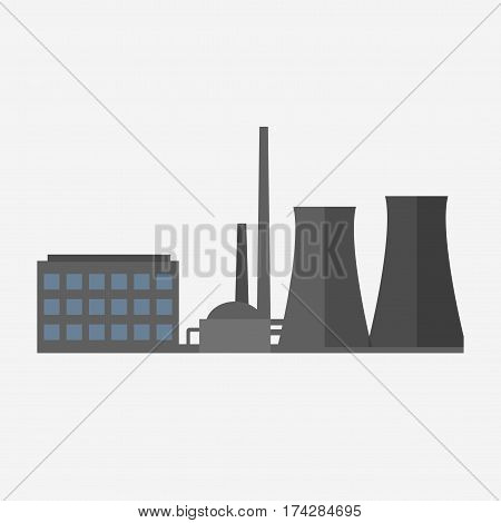Factory building icon flat style. Industrial factory building concept isolated from the background. Vector illustration