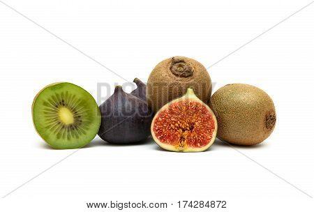 juicy figs and ripe kiwi fruit isolated on white background. horizontal photo.