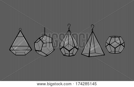 Glass Terrariums. Vector illustration eps10. Five terrariums with glass isolated on grey background.
