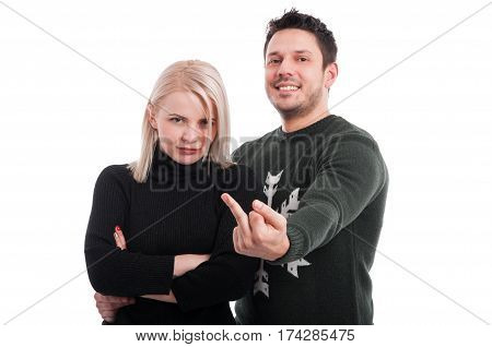 Young Male Showing Obscene Gesture