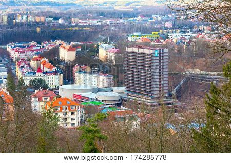 Karlovy Vary, Czech Republic - February 24, 2017: Karlovy Vary, aerial panoramic famous spa town view with hotel Thermal, Czekh Republic