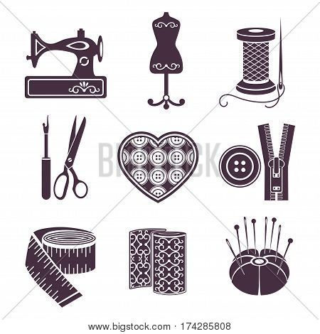 Set Of Vector Icons Sewing Tools. Purple Sewing Supplies On White Background