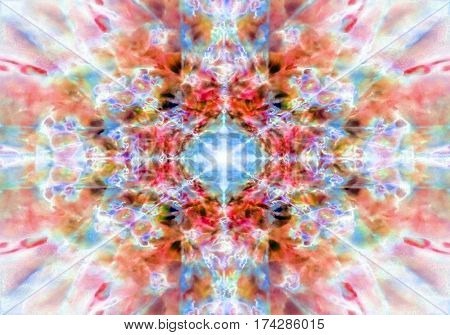An orange and blue kaleidoscope background pattern