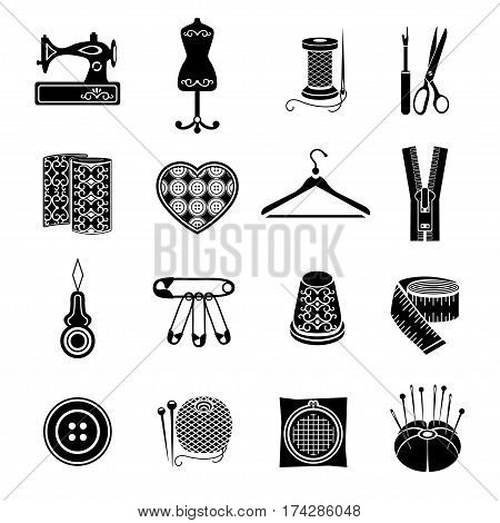Set Of Vector Icons Sewing Tools. Black Sewing Supplies On White Background