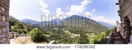 Panorama from Ruin Castel Belfort near Spormaggiore in Trento in Italy Europe